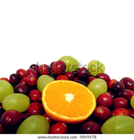 Fruit display over a white background
