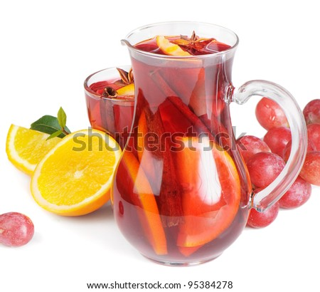 Fruit drink in jug - stock photo