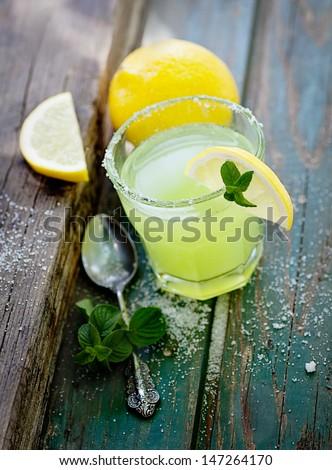 Fruit drinks. Fresh lemonade with sugar. Margarita cocktail - stock photo