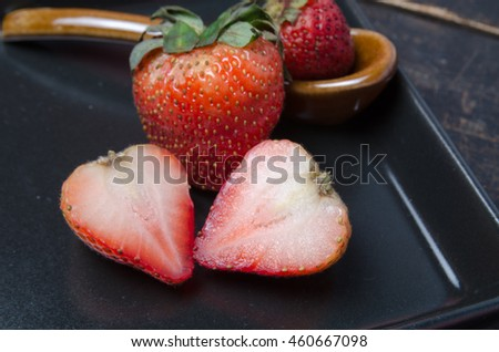 fruit food . Strawberries natural wooden background.