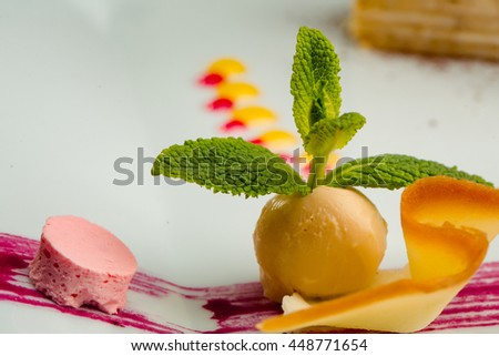 Fruit ice cream yellow ball served with red berry sauce and decorated with green mint on white background