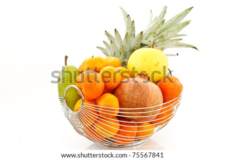 fruit in a vase on a white background