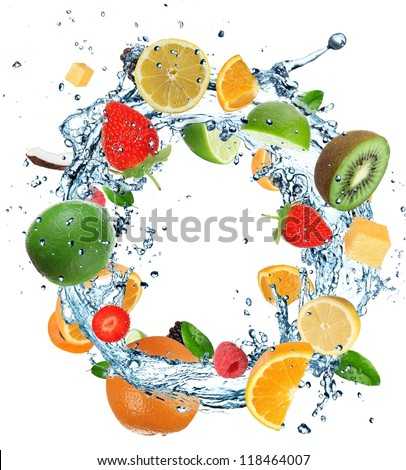 Fruit in water round splash