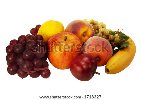 fruit including grapes, peaches, apple, plum, banana and lemon - stock photo