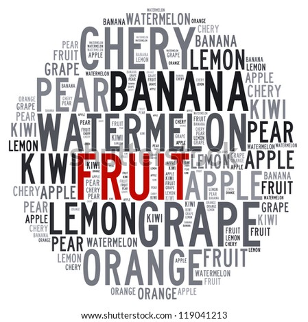 Fruit info text cloud