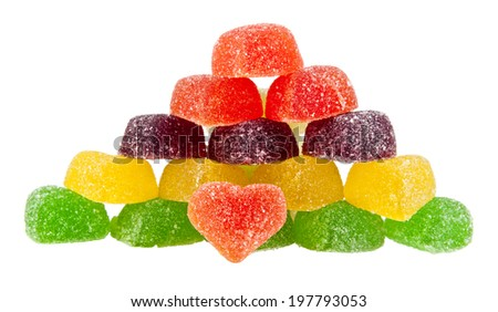 fruit jellies hearts on a white background