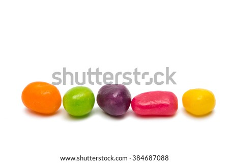 fruit jelly beans isolated on a white background - stock photo