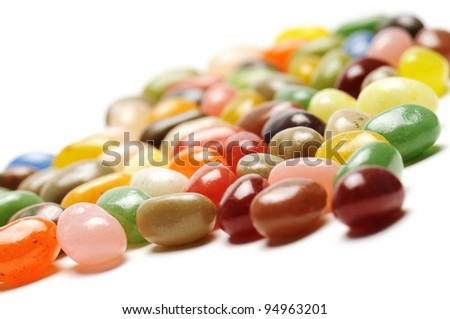 fruit jelly beans, on white background - stock photo