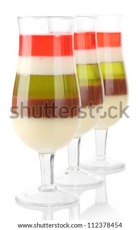 fruit jelly in glasses isolated on white