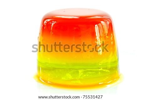 fruit jelly on white background - stock photo