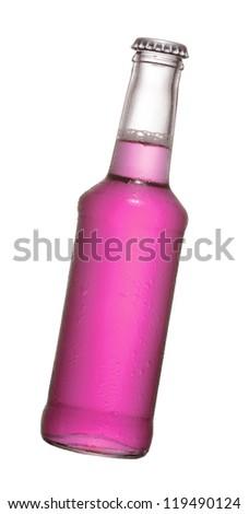 fruit juice beer bottle studio shot with cap isolated on white - stock photo