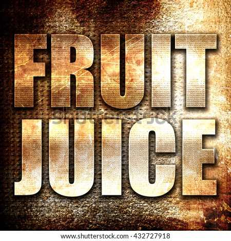 fruit juice, 3D rendering, metal text on rust background