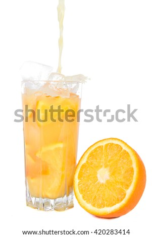 fruit juice on a white background