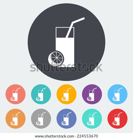 Fruit juice. Single flat icon on the circle.  - stock photo