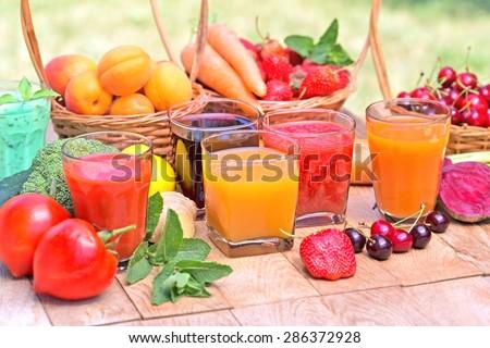 Fruit juice, vegetable juice and mix juices - stock photo