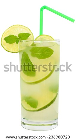 Fruit lemonade with lime and ice cubes and leaf mint in a highball glass on a white background. - stock photo