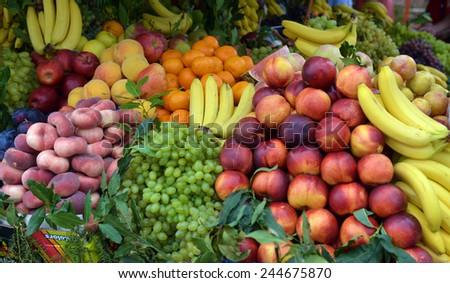 fruit market on display - stock photo