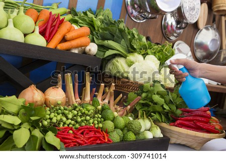 Fruit market with various colorful fresh fruits and vegetables - stock photo