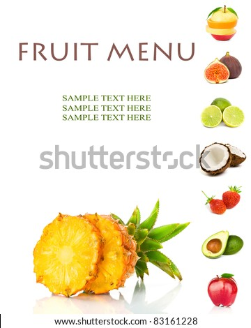 FRUIT MENU - stock photo