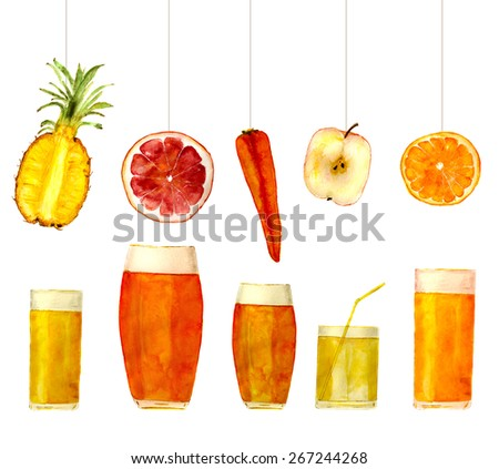 fruit mix and glasses with fresh juice: pineapple, grapefruit, carrot, apple, orange. Hand-painted watercolor - stock photo