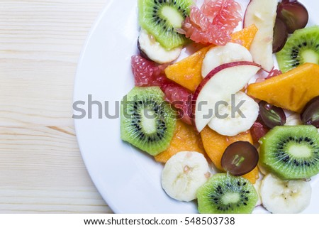 Fruit Mix Detail on White Plate