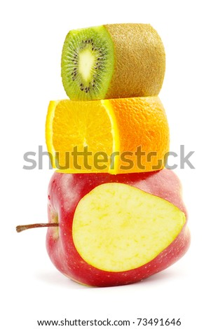 Fruit mix isolated on white