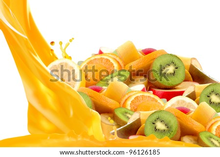 Fruit mix isolated on white background - stock photo
