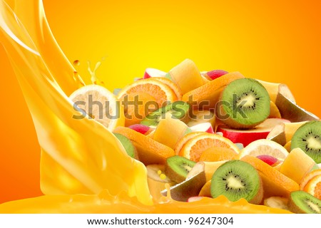 Fruit mix isolated on yellow background