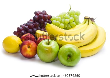 fruit mix of apples, nectarines, grapes, bananas and lemon - stock photo
