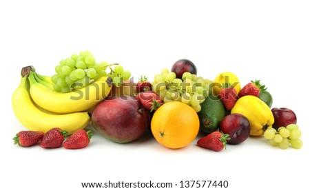 Fruit mix on white background. - stock photo