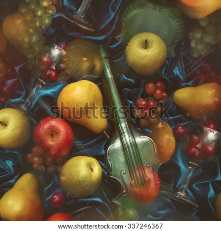 fruit mix. summer fruit and a glass on a blue background. . Fruit bright wallpaper