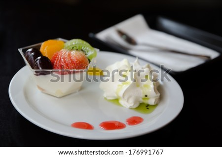 Fruit mousse layered in a glass