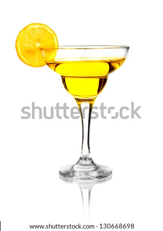 Fruit nonalcoholic cocktail in glass, isolated on white background - stock photo