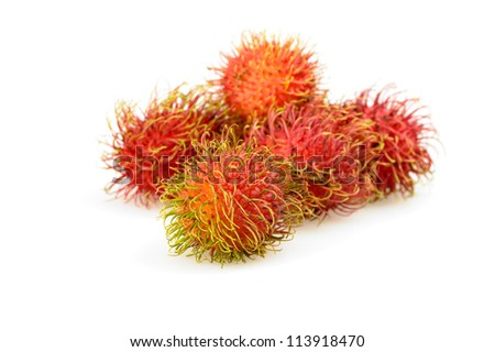Fruit of the rambutan bush also known as mamon and lychee. - stock photo