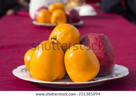 fruit on a plate - stock photo