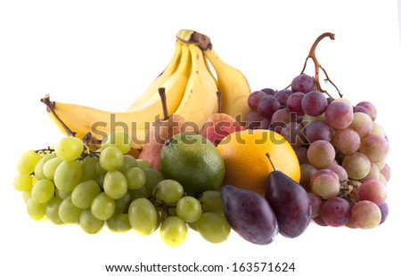 Fruit on a white background - stock photo