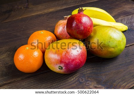 Fruit on a wooden background