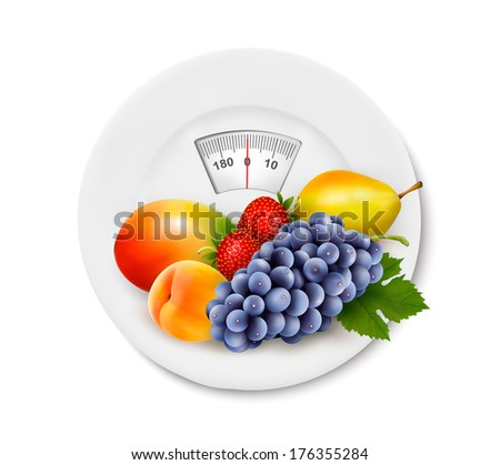 Fruit on the weight scale. Diet concept. Raster version - stock photo