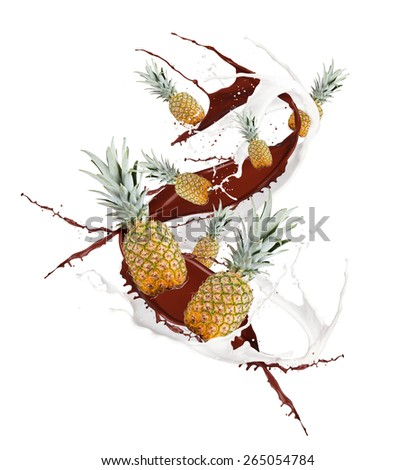 Fruit, pineapple  in milk and chocolate splash, isolated on white background - stock photo