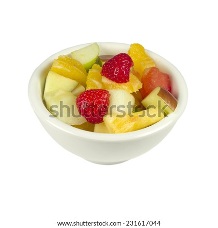 Fruit salad in a bowl. - stock photo