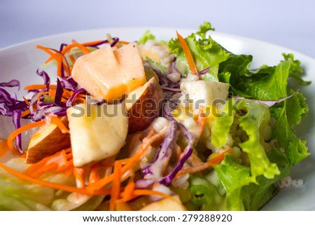 Fruit salad in a dish - stock photo
