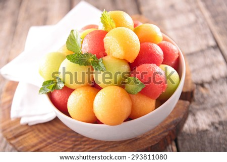 fruit salad in bowl - stock photo