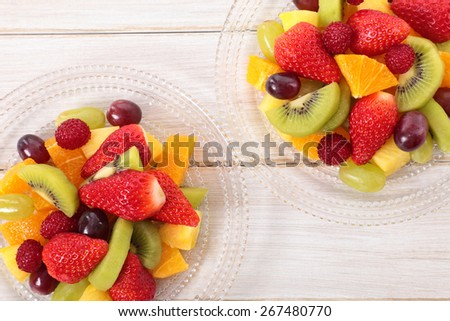 Fruit salad mixed with fresh fruits. Top view.