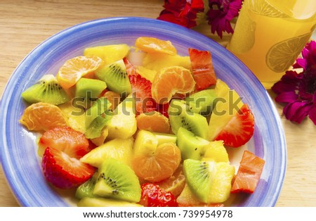 Fruit salad on plate