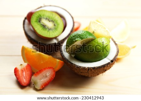 Fruit salad on table
