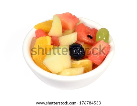Fruit salad on white background.