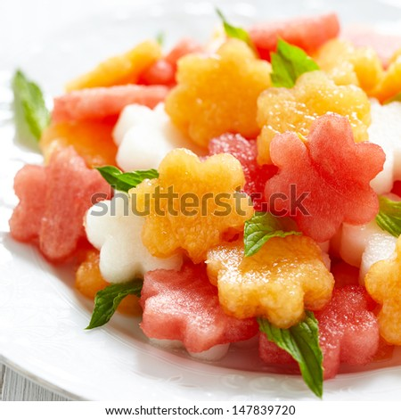 Fruit salad with melon and watermelon - stock photo