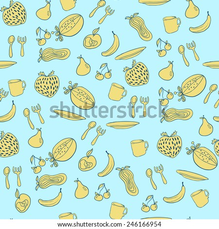 Fruit seamless pattern. Abstract background with fruits. Healthy food texture. Raster illustration for your design - stock photo