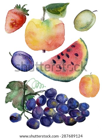 Fruit set drawn watercolor blots and stains with a spray :  watermelon, apple ,strawberry, peach, plum, grapes - stock photo
