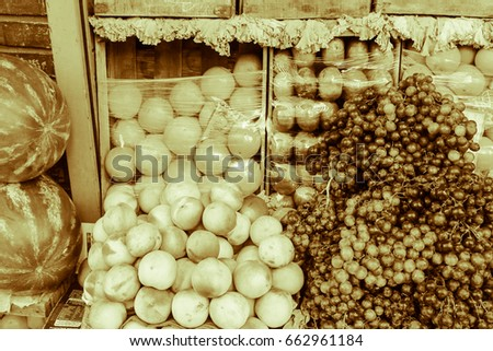 Fruit Shop in Sepia